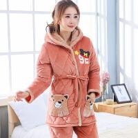 冬季加厚珊瑚绒夹棉睡衣女士可爱加绒韩版套装冬天保暖加棉家居服