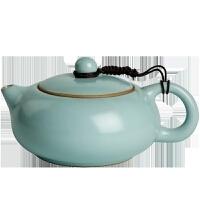 梅兰竹菊汝窑扁西施壶中式泡茶陶瓷单个天青色冰裂茶壶办公室单壶