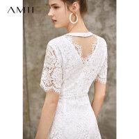 【3折到手价169元】Amii极简甜美法式连衣裙2019夏季新款露背拼接珍珠扣小香风蕾丝裙