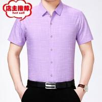 品牌衬衫男夏季款中年男士时尚高档休闲短袖修身桑蚕丝半袖免烫