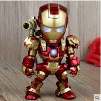 钢铁侠3 IRON MAN Q版可动手办模型 声控发光玩具 可车载摆件