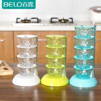 百露创意厨房用品立式塑料调味盒旋转式调料盒
