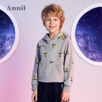 【3件3折:102】安奈儿童装男童秋季新款趣味批印图案连帽长袖卫衣