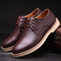 路屋 新款男生真皮休闲鞋英伦布洛克雕花男士潮流商务皮鞋时尚黑色鞋子时尚皮鞋 货到付款