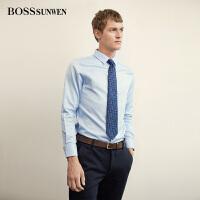 BOSSsunwen男士长袖衬衫商务正装纯棉纯色西装衬衣职业装上衣