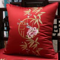 沙发抱枕靠垫客厅新中式中国风刺绣枕头红木靠枕套皮不含芯正方形