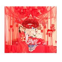 婚礼婚房布置装饰结婚用品 场景创意浪漫新房拉花婚庆结婚用品花球卧室纱幔 BX 蝶恋花环(豪华装)红