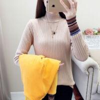 袖子加绒半高领毛衣女秋冬款韩版保暖针织打底衫 S 85-95斤