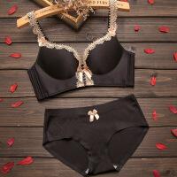 内衣女无钢圈聚拢少女加厚小胸罩薄款调整型性感蕾丝红色文胸套装 黑色 文胸+内裤