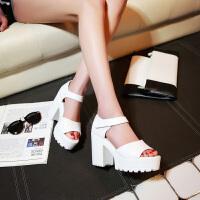 夏季英伦复古高跟防水台露趾凉鞋女式罗马鞋松糕粗跟厚底黑色女鞋
