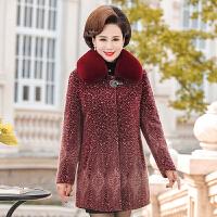 实拍中老年大衣女高贵洋气中年妈妈冬装中长款带毛领仿水貂绒外套