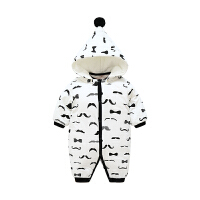 宝宝连体衣冬季厚款男宝宝夹棉衣服3个月可拆帽外出保暖冬装