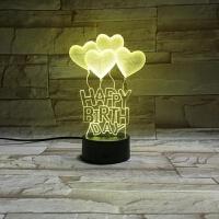 3d小夜灯梦幻礼品创意立体可爱台生日快乐3D立体视觉灯 LED装饰台灯七彩变色小夜灯 生日礼品048