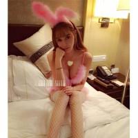 情趣内衣兔女郎夜店套装粉色性感三点式小胸可爱OL激情sm真人派对女制服用品 +白色网袜 均码适合80-150斤