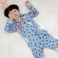 儿童睡衣春秋长袖中大童家居服套装全棉男孩睡衣7-9周岁