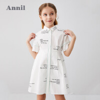 【2件3折价:101.7】安奈儿童装女童连衣裙2020夏季新款中大童字母印花洋气衬衫裙透气