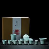 手绘青瓷功夫茶具套装整套白瓷家用简茶盖碗茶杯茶壶