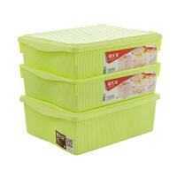 塑料收纳盒化妆品内衣收纳盒袜子收纳盒三盒两盖3件套中粉绿5L 1551 5L*3个