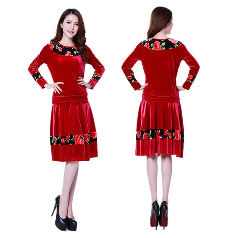 广场舞服装套装新款舞蹈服女裙子秋冬加厚保暖拉丁舞服装