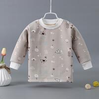 婴儿秋装上衣长袖女男宝宝秋衣上衣单件保暖衣打底衫加绒衣服 浅灰色 小树