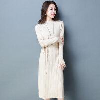 秋装女2018新款针织连衣裙收腰修身韩版中长款气质长袖打底裙