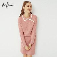 伊芙丽套装两件套洋气2020新款女毛衣民国风职业针织小香风套装裙