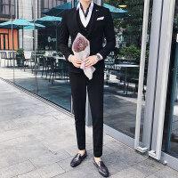 小西装男套装韩版修身帅气男士西服休闲三件套新郎结婚礼服正装潮