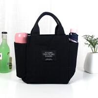 带饭手提袋子帆布妈咪包饭盒包午餐便当包拎装饭盒袋的手提包 黑色 纯色帆布