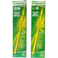 Ticonderoga 泰康德儒格 六角形黄杆带橡皮头铅笔 12支装