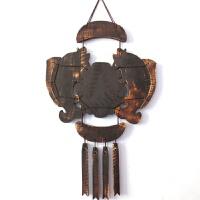 木雕客厅福字鱼墙上装饰品挂件壁饰创意玄关墙面实木中式复古壁挂