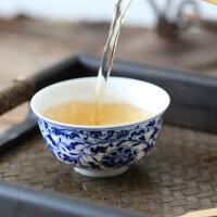 景德镇陶瓷品茗杯个人杯单杯高白功夫茶具小茶杯手绘青花主人杯 压手杯牡丹