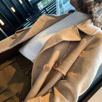 秋冬毛呢外套女中长款翻领双排扣条纹羊绒大衣修身韩版呢子外套