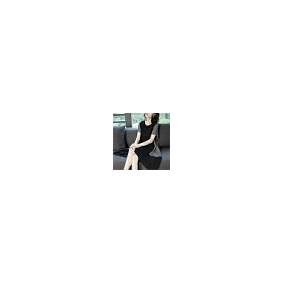 大码女装连衣裙女夏2019新款韩版气质休闲宽松中长款拼接条纹裙子 黑色 一般在付款后3-90天左右发货,具体发货时间请以与客服协商的时间为准