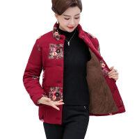 中老年印花棉衣女装冬季唐装上衣妈妈装加厚棉衣大码棉袄外套