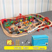 儿童木质托马斯小火车轨道套装玩具 电动小火车轨道动手拼搭玩具定制 恐龙款轨道 送收纳箱 官方标配