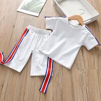 女童套装2018夏季新款短袖色T恤宝宝短裤薄款儿童时尚两件套 白色 100cm