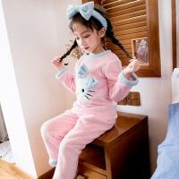 冬季宝宝家居服厚公主女童珊瑚绒睡衣秋冬款儿童法兰绒小童女孩