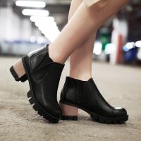 彼艾2017秋冬新款欧美英伦风复古粗跟短靴防水台高跟马丁靴机车靴裸靴女单靴潮