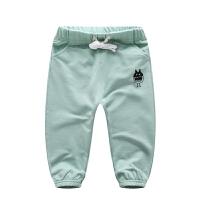 男童女童长裤春秋季儿童毛圈针织裤2019新款宝宝外穿运动单裤 豆绿色 K2702