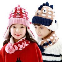 韩国kk树宝宝帽子秋冬保暖加绒护耳帽男女儿童帽子围巾两件套