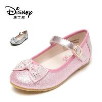 【达芙妮集团】迪士尼 时尚水钻蝴蝶结女童鞋亮片公主鞋