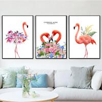 十字绣线绣新款欧式三联画客厅简约现代卧室小幅简单款可爱火烈鸟