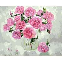 数字油画花瓶里的玫瑰 油画欧式花卉填色手工绘装饰画 玻璃花瓶里的粉色玫瑰花 BX 玻璃花瓶里的粉色玫瑰花 60*75带