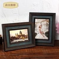 家用欧式实木相框摆台创意七寸7 6六寸美式照片框相片框复古影楼相架SN3218 墨绿色