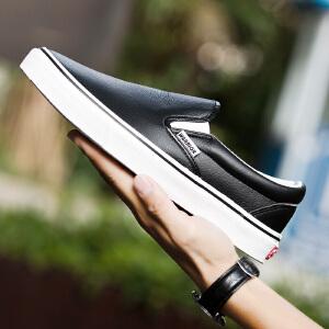 回力男鞋夏季新款皮面低帮一脚蹬懒人鞋平底板鞋乐福鞋子男休闲鞋