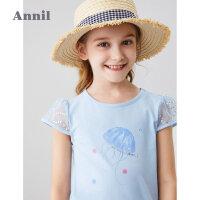 【199元3件】安奈儿童装女童T恤2020夏季新款海底水母水墨画风短袖T恤