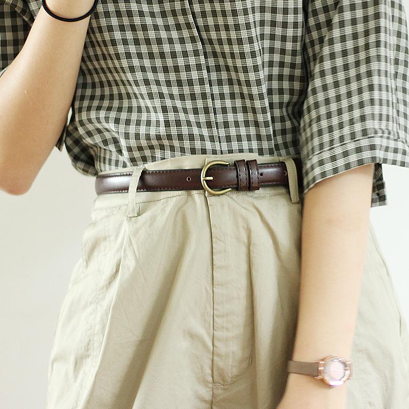 复古学生小皮带简约百搭韩国衬衫装饰细腰带配裙chic女士牛仔裤带