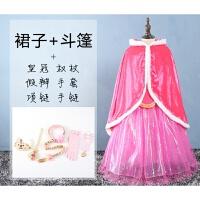 公主裙儿童装秋冬女童连衣裙冰雪奇缘艾莎爱莎爱沙裙子 +斗篷+六件全套饰品