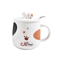 可爱猫咪马克杯卡通陶瓷杯子情侣男女水杯咖啡杯带盖勺