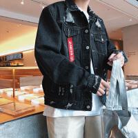 破洞牛仔夹克男士秋季新款大码装宽松上衣青少年韩版潮流外套